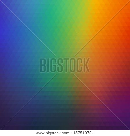 Bright Rainbow Geometric Background of Colorful Triangles. Colored Mosaic Backdrop for Banner / Affiche / Poster.