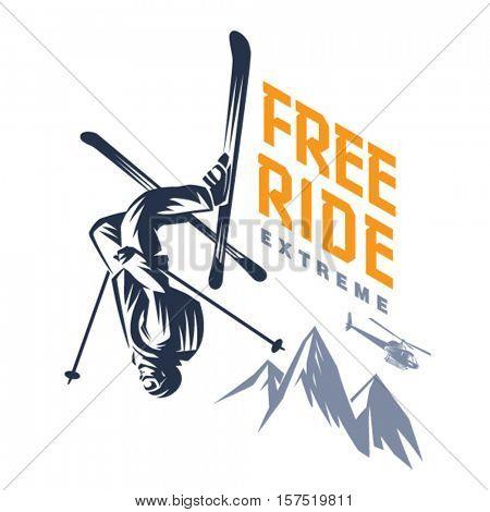 Free ride. Stunt headfirst of skier. Sport emblem