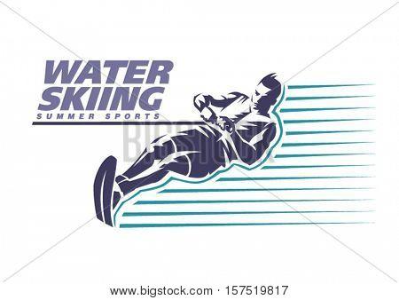 Water skiing. Sport emblem