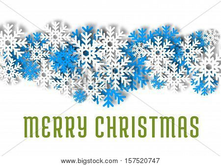 Merry Christmas greeting card. New Year winter snowflakes decoration background. Blue and white vector flakes of snow