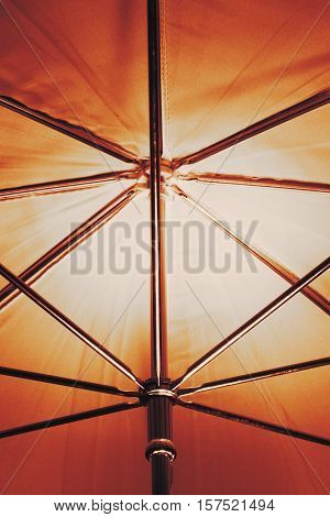 Artistic concept. Abstract shot art of umbrella frame with wires light reflecting