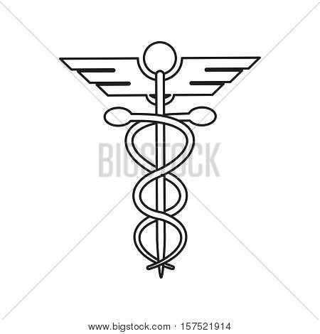 Caduceus icon. Medical and health care theme. Isolated design. Vector illustration