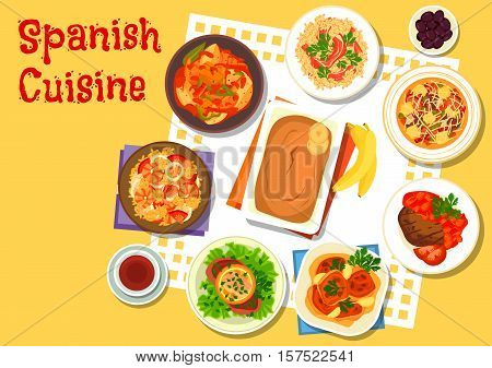 Spanish seafood and meat dishes icon with sausage soup, seafood paella, rice with gammon, beef schnitzel with salmon, chicken in sherry sauce, tuna potato stew, garlic beef steak, banana pudding