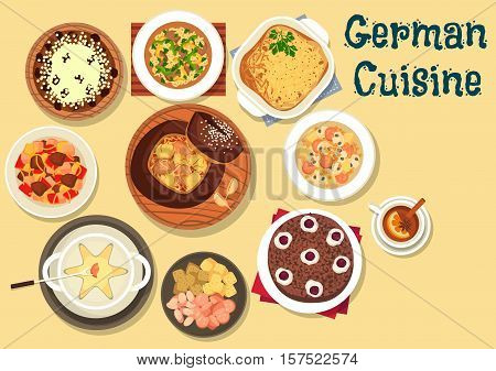 German cuisine beer and cheese fondue icon served with cabbage soup in rye bread, cabbage and sausage soup with mushroom, beef stew, christmas cake stollen, hamburg potato pie, chocolate cherry cake