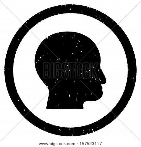 Bald Head grainy textured icon inside circle for overlay watermark stamps. Flat symbol with dust texture. Circled dotted vector black ink rubber seal stamp with grunge design on a white background.