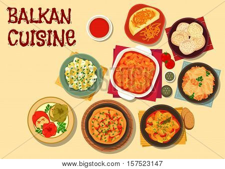Balkan cuisine vegetarian dishes icon with bean stew, cabbage roll, baked bean, polenta, potato stew, pepper with brinsen cheese, zucchini with sour cream, vegetable omelette, almond meringue