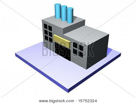 3d art of a factory building. Series for supply chain management diagrams and charts.