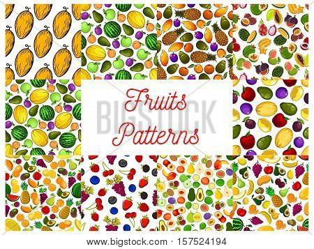 Tropical fruit and garden berry seamless pattern with strawberry, apple and cherry, orange and banana, peach, mango and pineapple, grape and plum, feijoa, carambola, melon and avocado, lemon, pear, durian, lychee