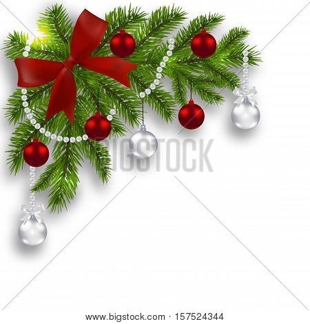 Christmas card. Green branches of a Christmas tree with silver, red balls and ribbon on a white background. Angular. Christmas decorations. Vector illustration