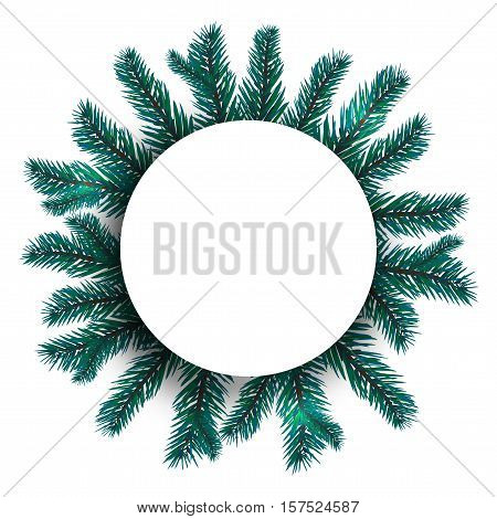 Blue, realistic fir branches. Spruce branch in a circle from the center of the picture. Advertising Space Offers. Isolated on white background. Christmas vector illustration