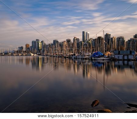 Downtown Vancouver Sunset Reflections from Stanley Park