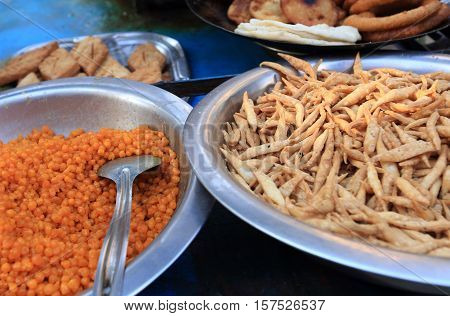 closeup of fried nepali food selling at restaurant