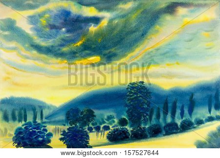 Watercolor landscape original painting colorful of cloud and mountain in sunset background