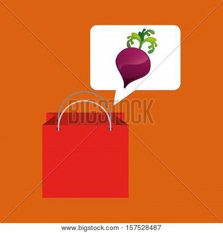red bag buying beet vegetable vector illustration eps 10