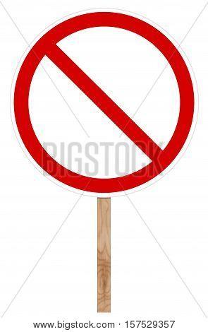 Prohibitory traffic sign isolated on white - Blank