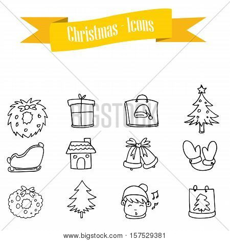 Hand draw icon Christmas set collection stock