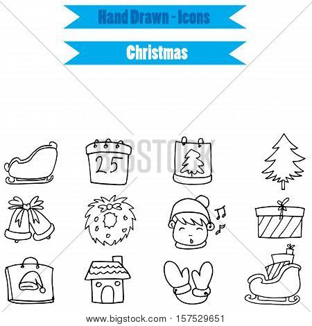 Collection stock Christmas icon set on white backgrounds vector