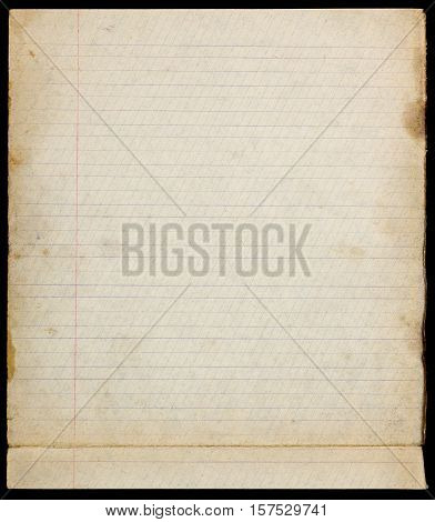 Old lined stained paper page with margins and fold in lower part