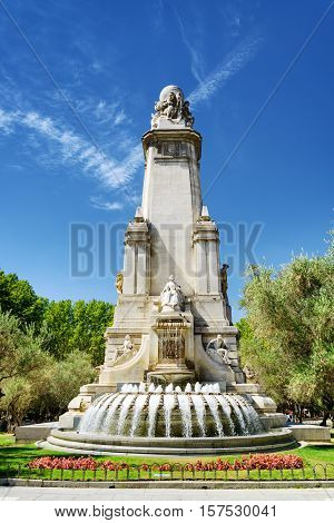 North-eastern Side Of The Cervantes Monument On The Square Of Spain (plaza De Espana) In Madrid