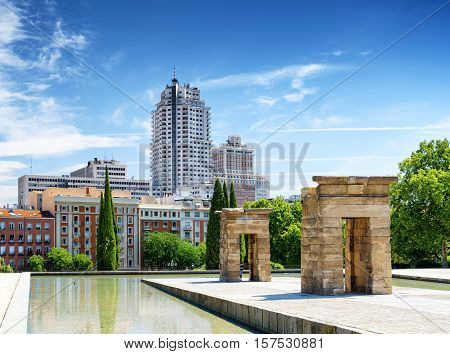 Gates To The Temple Of Debod, Ancient Egyptian Temple, In The Parque Del Oeste (western Park) In Spa