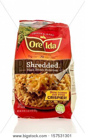 Winneconne WI - 20 November 2016: Bag of Ore Ida shredded hashbrown potatoes on an isolated background.