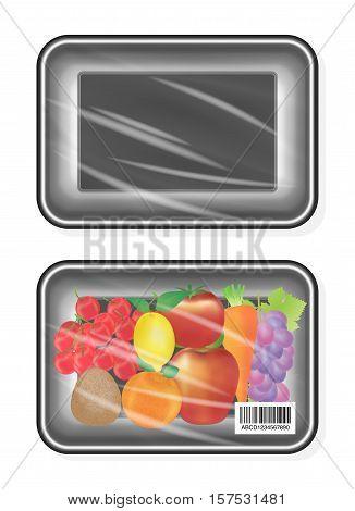 top view of Black polystyrene packaging mockup with fruite inside