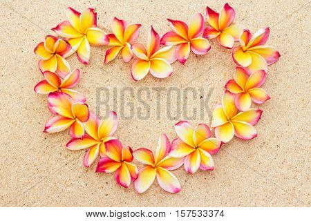 Heart made of frangipani or plumeria flowers on sand top view