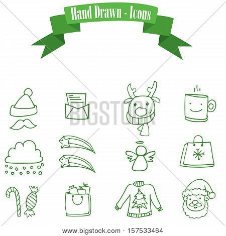 Icon Christmas set of vector illustration collection stock