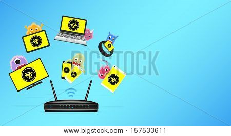 a router with infected smart device vector