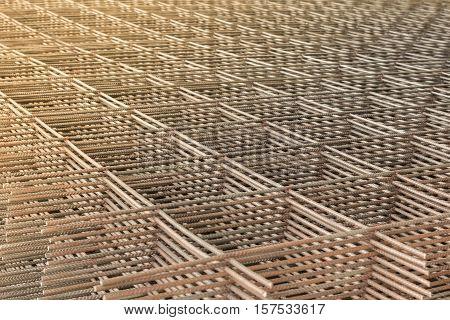 Close Up Stack Of Steel Bar Or Steel Reinforcement Bar