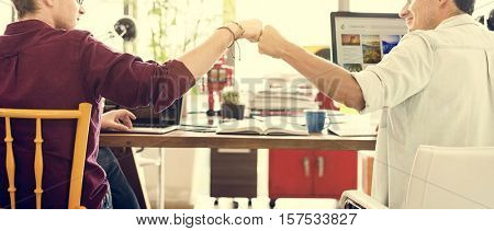 Fist Bump Corporate Colleagues Teamwork Office Concept