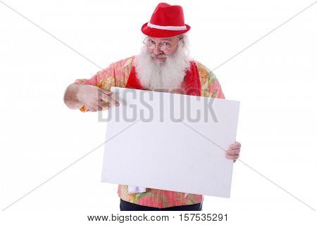 Hipster Santa Claus with a blank white sign. Isolated on white with room for your text.