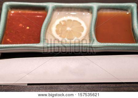 Different type of yakiniku sauces