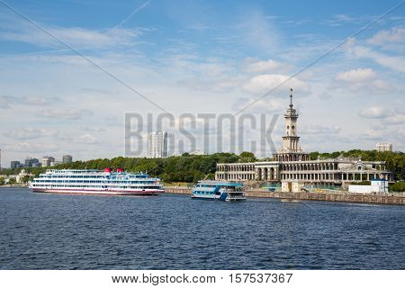 Passenger ships are at berth Northern river station in Moscow. Built in 1937.