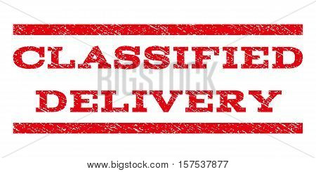 Classified Delivery watermark stamp. Text tag between parallel lines with grunge design style. Rubber seal stamp with unclean texture. Vector red color ink imprint on a white background.