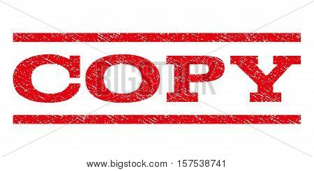 Copy watermark stamp. Text caption between parallel lines with grunge design style. Rubber seal stamp with scratched texture. Vector red color ink imprint on a white background.