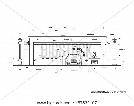 Underground parking terminal pay-gate tourniquet transportation linear vector illustration. Underground parking building creative graphic concept. Underground parking graphic design.