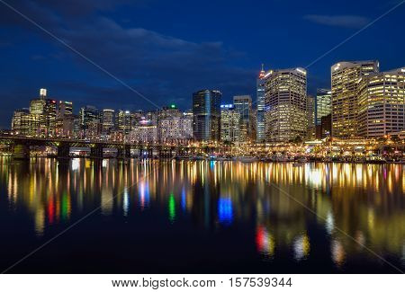 SYDNEY AUSTRALIA - November 20 2016 : Night scene of Darling Harbour adjacent to the city center of Sydney and also a recreational place in Sydney central business district