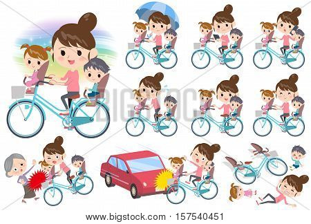 Set of various poses of Mother and 2 Children ride on city bicycle