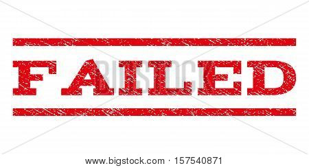 Failed watermark stamp. Text tag between parallel lines with grunge design style. Rubber seal stamp with unclean texture. Vector red color ink imprint on a white background.