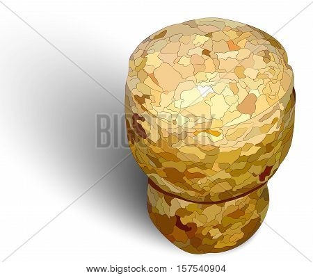 Champagne cork on the right white background photorealistic