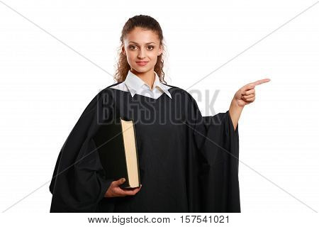 Portrait of a young female judge, isolated on white background.