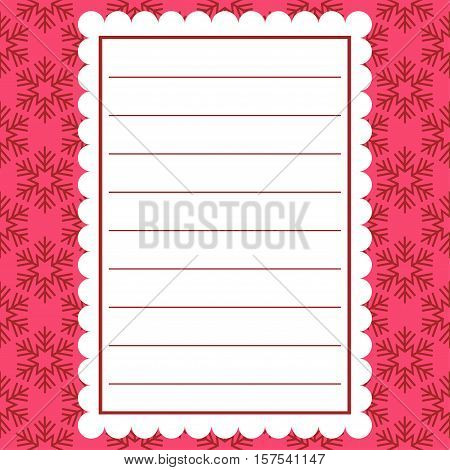 Card for the winter holidays with snowflakes