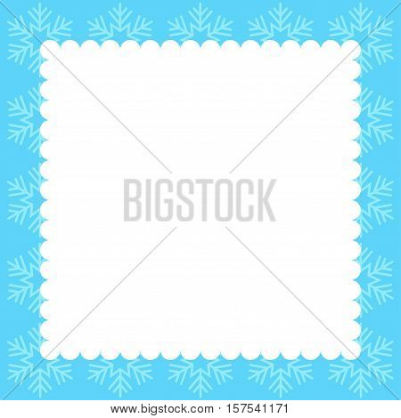 Card for the winter holidays with snowflakes and place for text.