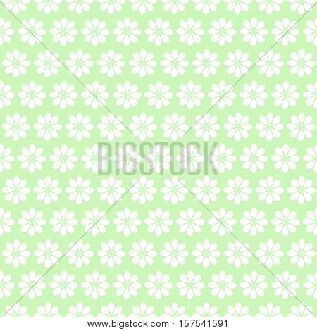 Christmas seamless pattern withl snowflakes white on green