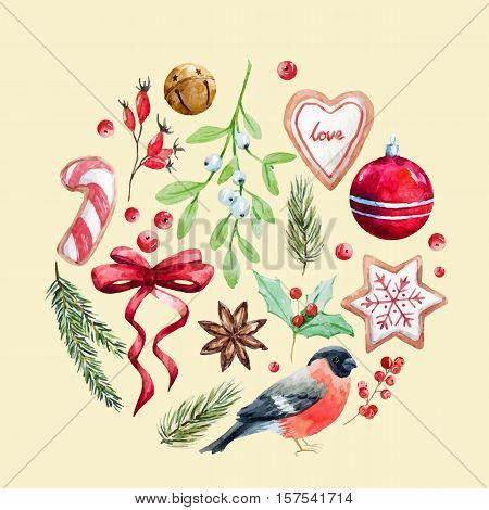 Beautiful vector illustration of fir decoration ball that contains christmas attributes