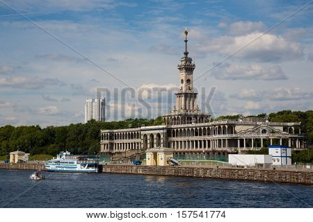 Ancient building of the Northern river station in Moscow. Built in 1937.