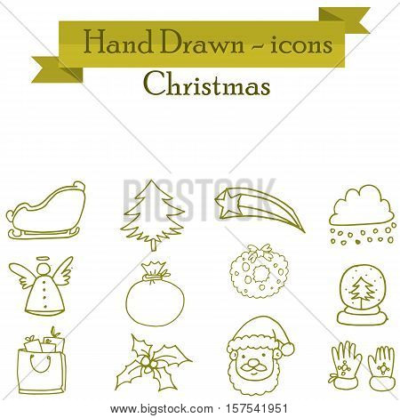 Illuetration of Christmas set icons collection stock