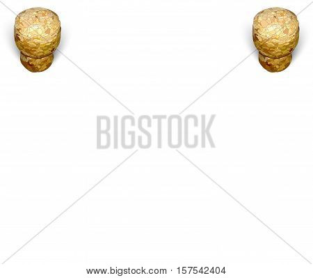 two at the top of a champagne cork on a white background