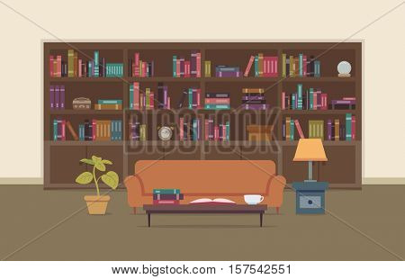Flat Illustration of a Personal Library Featuring a Large Bookshelf with a Large Collection of Books